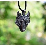 Colar Cordão com Pingente Cabeça do Lobo Nórdica Vikings