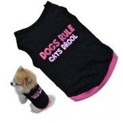 Colete Cão de estimação do Filhote de cachorro Frase Dogs Rule Cats Drool