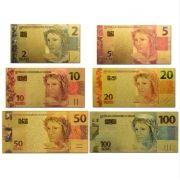 Conjunto Notas de Real Folheadas à ouro 6 unid Brasil 2 5 10 20 50 100 Reais Coleção