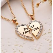 Cordão Colar Coração Frase Best Friends 2 Partes Palavras nos Pingentes