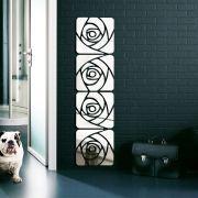Espelho Acrílico Adesivo de parede 3D 4 Flores Quadradas Decorativo