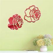 Espelho Adesivos de Parede 3D Rosa Vermelha Decorativo