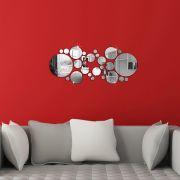 Espelhos Adesivos de Parede Redondos 30 pçs Decoração Quarto Sala Copa Escritório