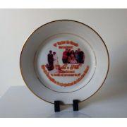 Prato de Cerâmica 20cm com Borda Dourada Personalizado