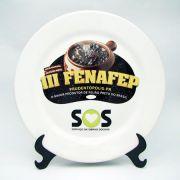 Prato de Sobremesa Cerâmica 20cm Personalizado c/ Suporte