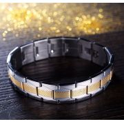 Pulseira de Aço Inoxidável com Detalhes em Dourado para Homens e Mulheres