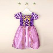 Vestido Fantasia Rapunzel Traje Princesa de Verão para Crianças Carnaval