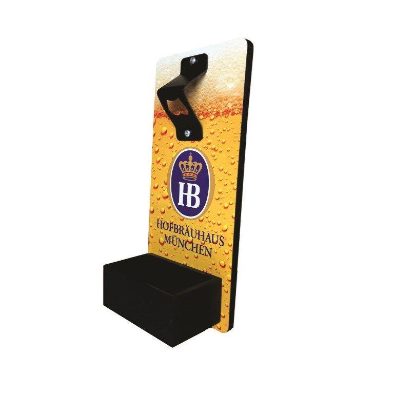 Abridor de Garrafa de Cerveja de Parede em MDF com coletor de tampinhas Personalizado