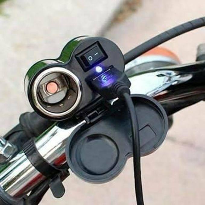 Adaptador Veicular e Tomada USB para Motos Bicicleta Elétrica