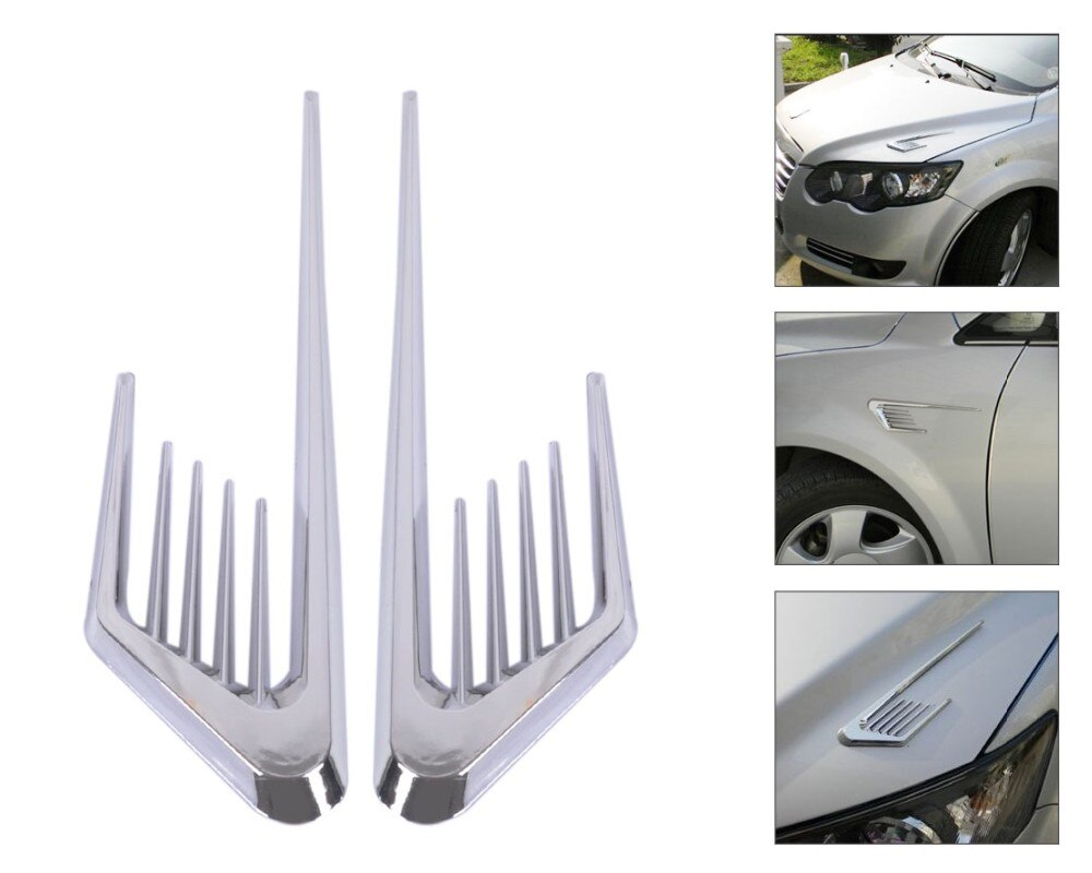 Adesivo 3D estilo fluxo de ar entrada de ar do carro guelra de tubarão para lateral Acessórios para Carros