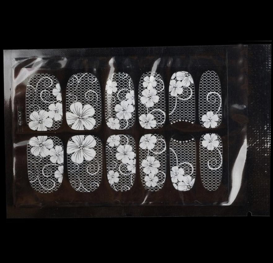 Adesivo tipo decalque 3D para unhas flor e grade com gliters arte para decorar sua unha