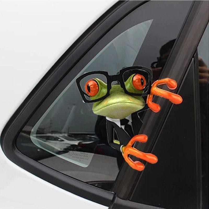 Adesivos de carro 3D Caminhão de rã engraçado janela Decalque gráficos