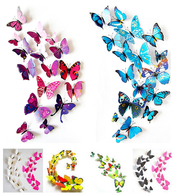 Adesivos de parede 3D e imã de geladeira 12pçs borboleta decoração para casa