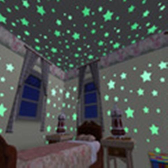 Adesivos de parede Estrela Luminoso fluorescente colorido a noite 50unid./pacote