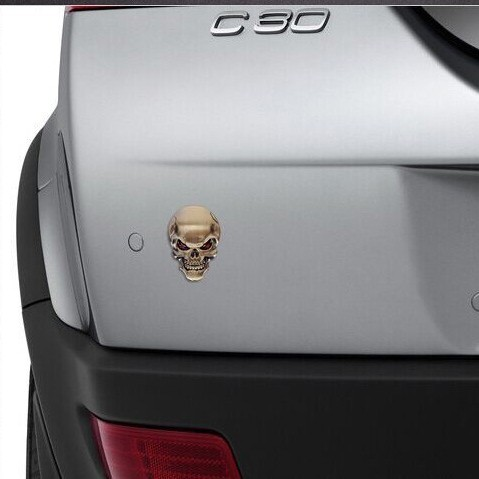 Adesivos Decorativos 3D para Carro Crânio Caveira Emblema Metálico Brilhante