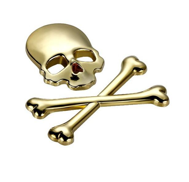 Adesivos Emblema 3D de carro Caveira e osso do crânio de metal motocicleta