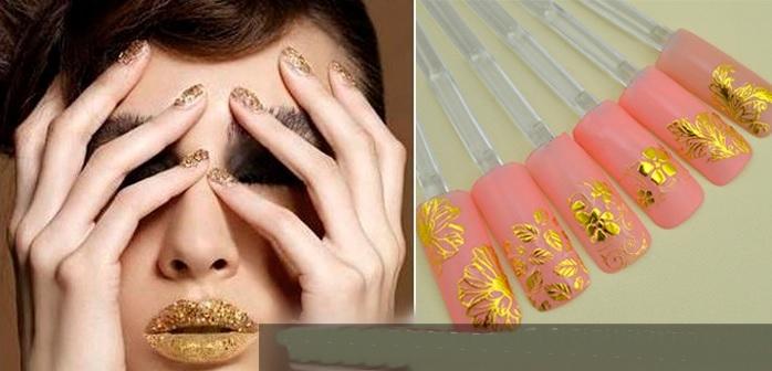 Adesivos para unhas decalque 3D cor ouro metálico com Flores folha com 108pcs