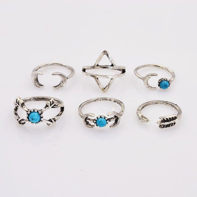 Anéis Estilo prata antiga vintage pedra azul lua anel seta presente