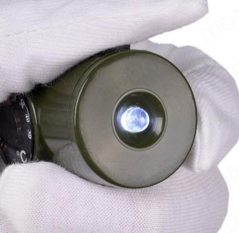 Apito 7 em 1 Resgate + Lanterna + Bússola + Termômetro + espelho + Lente aumento + porta sal