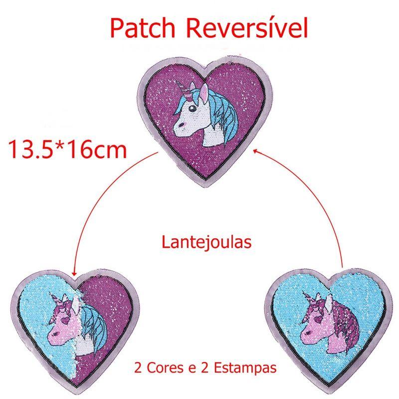 Aplique Patch Lantejoula Reversível para roupas