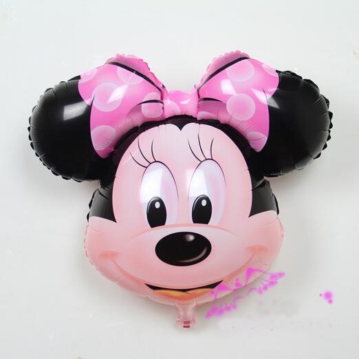 Balão de aniversário cabeça minnie e mickey de foil de alumínio para Decoração festa Infantil