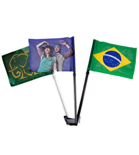 2 Bandeiras para Carro 20x30cm Personalizada com Haste