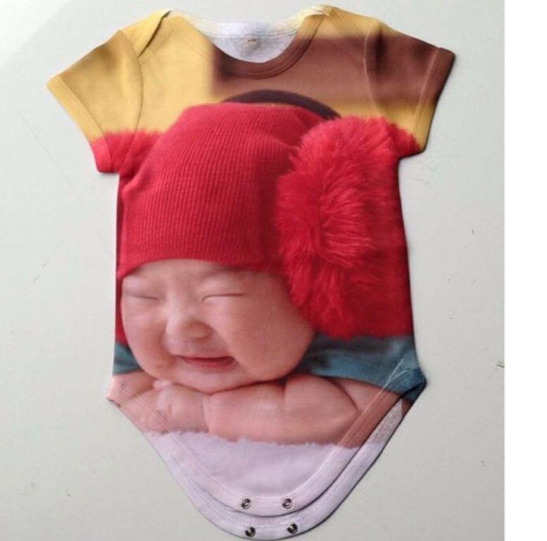 Body Infantil Bebê Branco Personalizado com foto Frase engraçada