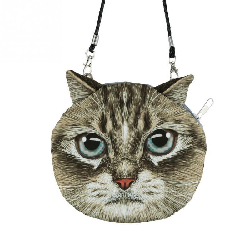 Bolsa de Ombro Estampa 3D idêntica Cara de Gato para Mulheres