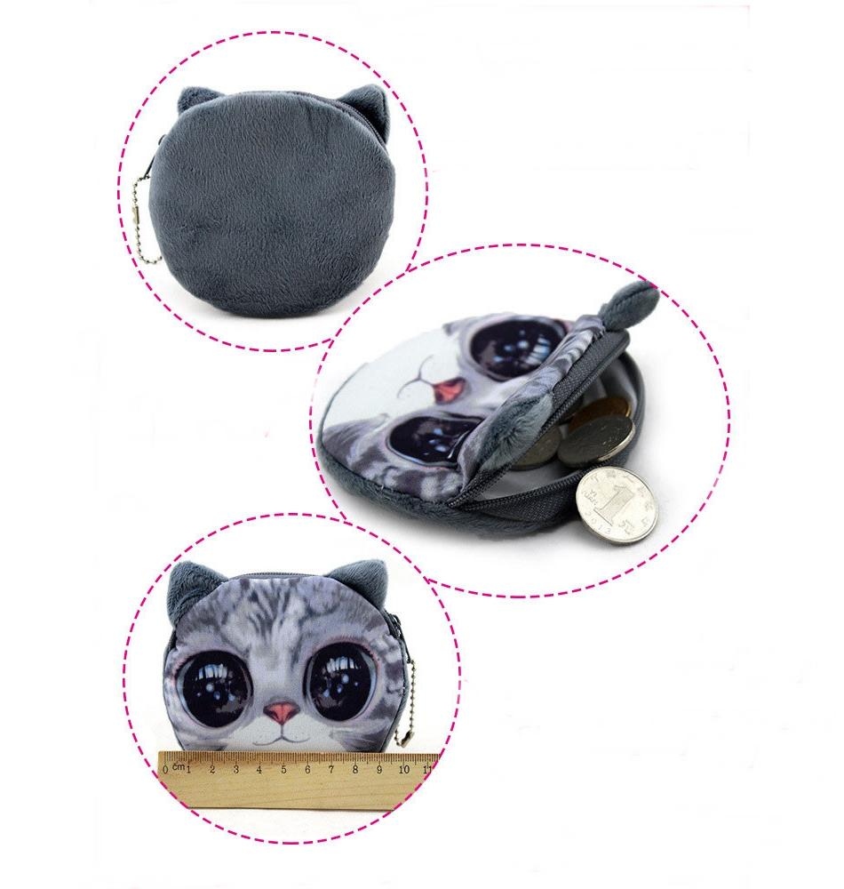 Bolsinha de pelúcia pequena carteira mini bolsa com zíper impressão 3D cara do gato ou cão