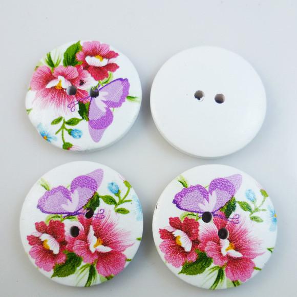 Botões 30mm Mix Colorido de Madeira Decorativos Conj 10pçs para Roupas
