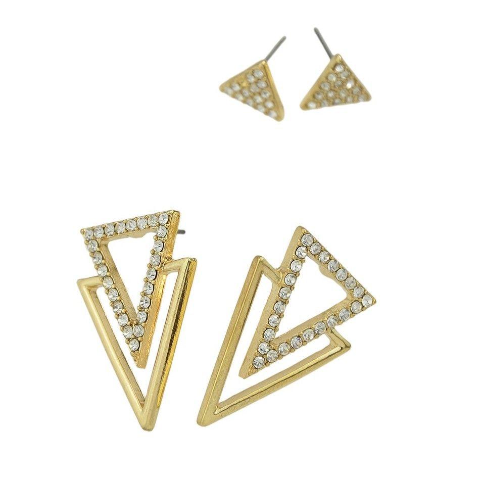 Brincos 3 pares Forma Geométrica Triângulo com Strass Estilo Punk Rock