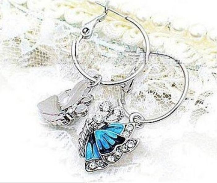 Brincos borboleta azul nova moda elegante de liga brilhante com strass