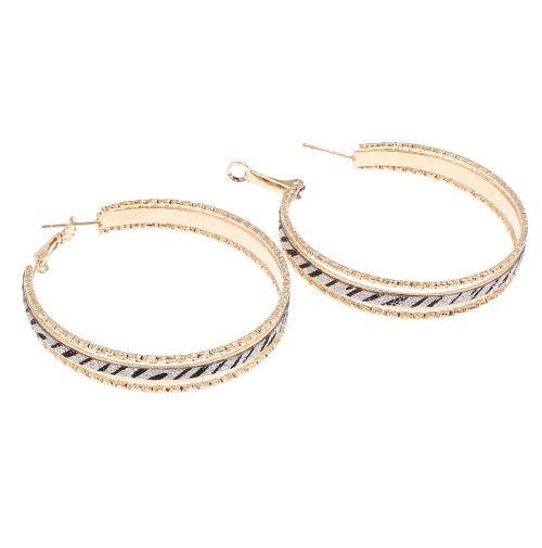 Brincos de argola Redonda Cor de Ouro com Preto e Prata jóias Bijuteria