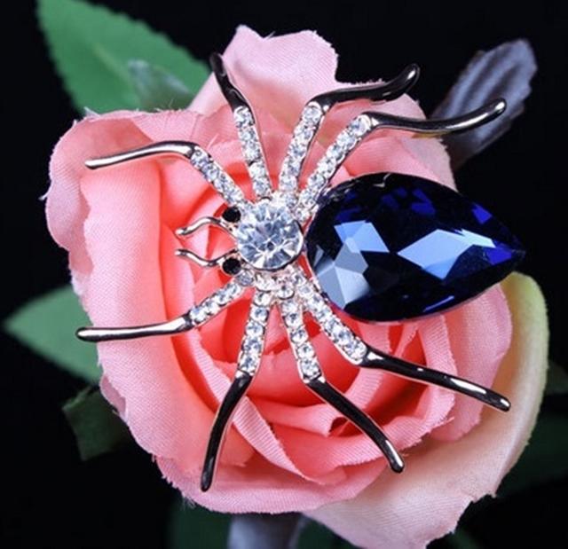 Broche Bottom Aranha de cristal azul fashion da Áustria chapeado c/alfinete