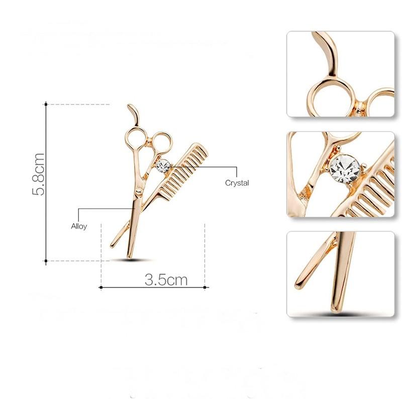 Broche Pin Mini Tesoura com Pente Delicado Presente para Cabeleireiros Salão Fashion