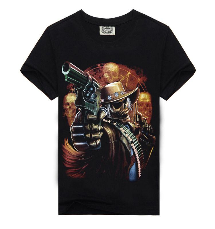 Camisa 3D Camiseta Crânio do ceifador Caveira Atirando Moto