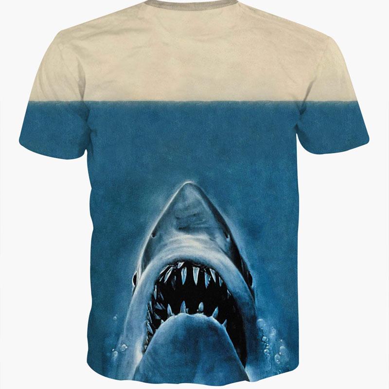 Camisa 3D estampa Deadpool com cabeça de tubarão azul unisex casual manga curta