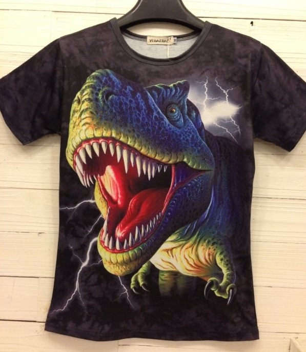 Camisa Divertida 3D estampa dinossauro Feminina