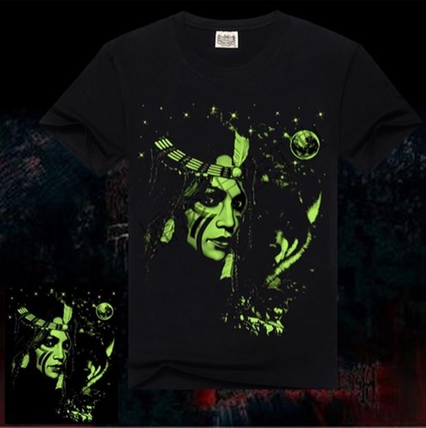Camisa Luminosa India com pintura que brilha no escuro em Algodão