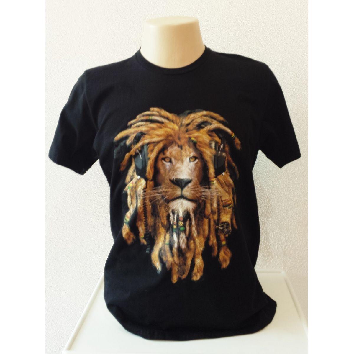 Camisa Preta Leão Rasta com fone Boby Marley 100% algodão