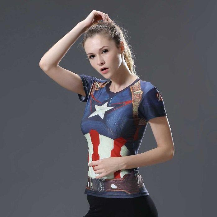 Camiseta 3D Armadura Fitness Feminina Super heróis  BATMAN SUPERMAN HULK Flash