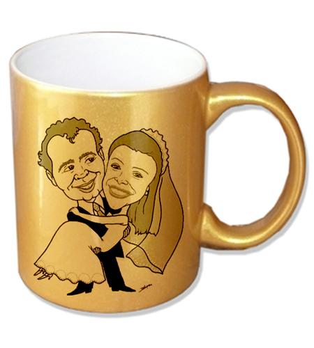 Caneca Cerâmica Dourada 325ml Personalizada