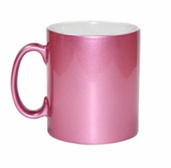 Caneca Cerâmica Rosa Cintilante Personalizada 325ml