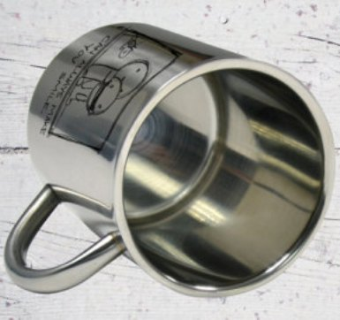 Caneca de  Aço Inox  Escovado 300ml Personalizada