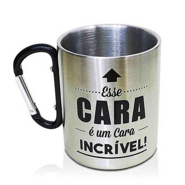 Caneca em Aço Inox com Alça Mosquetão 300ml Personalizada