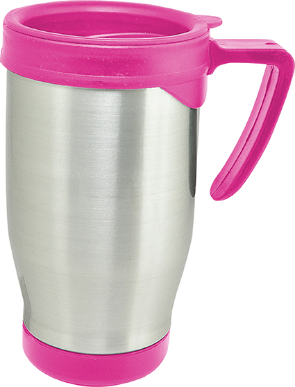 Caneca Térmica em Aluminio ou Branca c/Tampa Rosa Pink ou Bebê P/Carro 500 ml