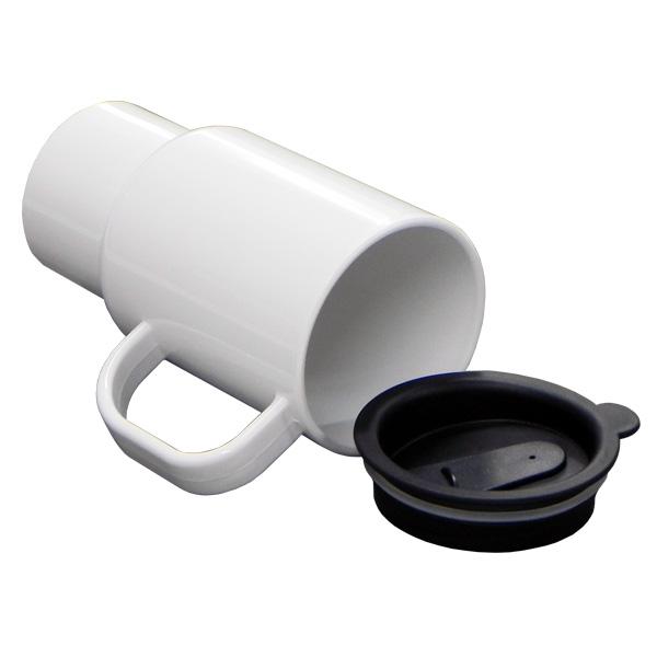 Caneca Térmica Plástica Branca C/Tampa Viagem Preta 500ml P/Carro Personalizada