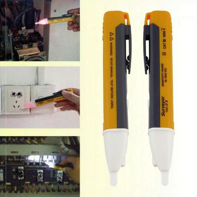 Caneta Detectora de Tensão Portátil Voltagem AC a pilha com Led e Alarme Sonoro