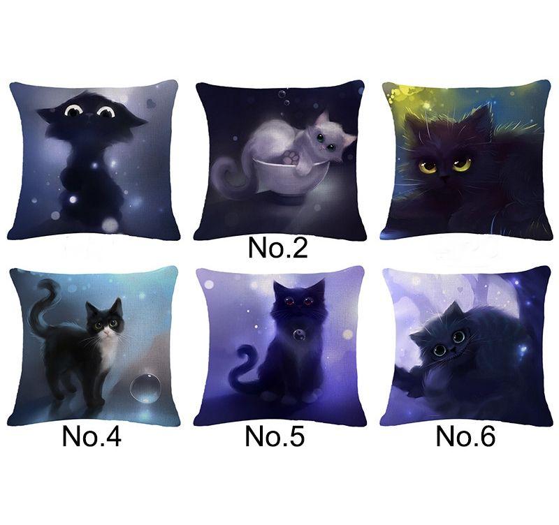 Capa de Almofada 45x45cm de Linho Decorativa Gatos Gatinhos