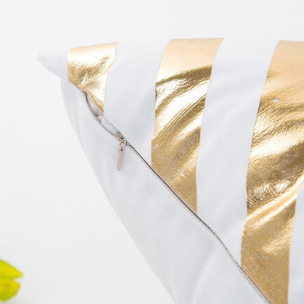 Capa de Almofada 45x45cm Estampa dourada Brilhante para Sofá